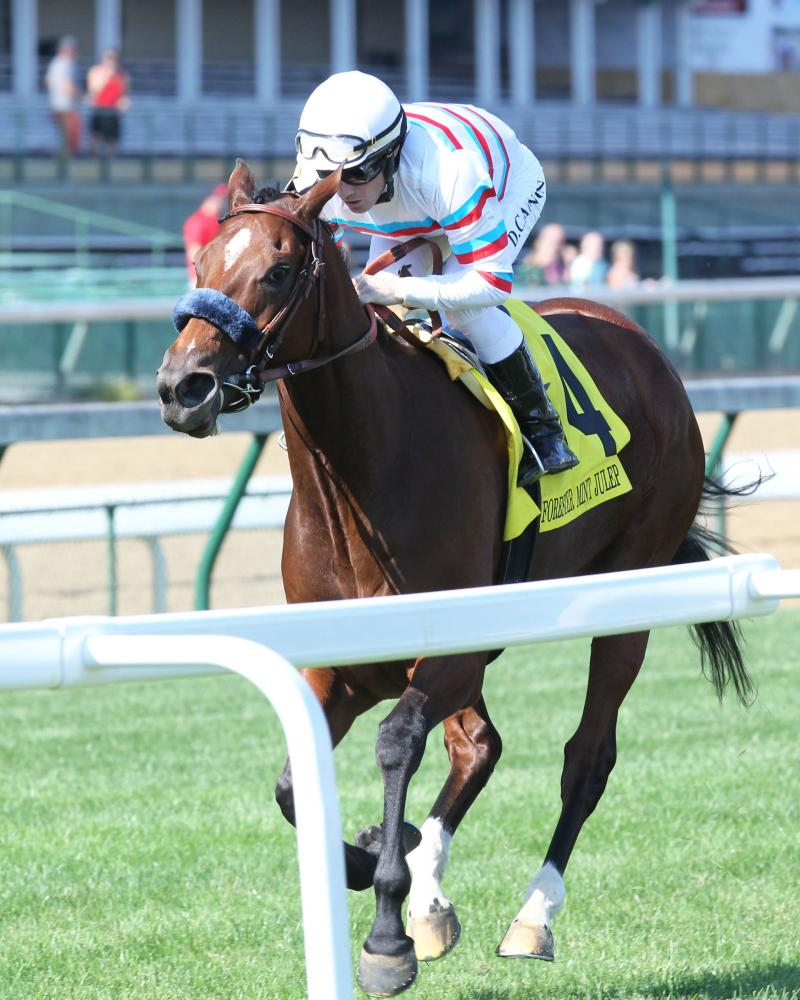 20170610 DONA BRUJA - The Old Forester Mint Julep Handicap Gr III (Coady) Inside Finish 1